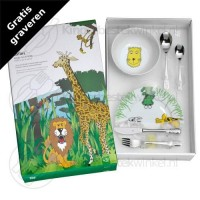 Safari kinderset porselein rvs 6-delig